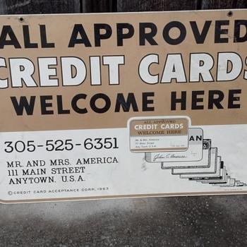metal credit card sign - Advertising