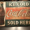 Coca Cola tin sign 1916 Thanksgiving bottle sign