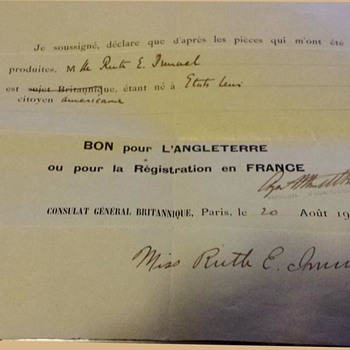 WW1 era British exit visa issued in Paris with Bisected stamp