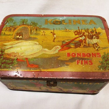 Kolinea Candy tin Black Americana with Stork Bird 1920s - Advertising