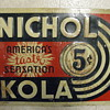 "Nichol Kola Embossed 10""x 14"" Tacker sign 1950's ?"
