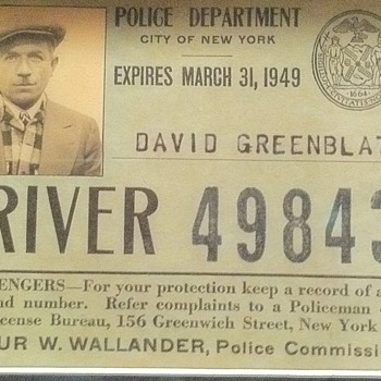 1940's NY cab drivers badge and ID card