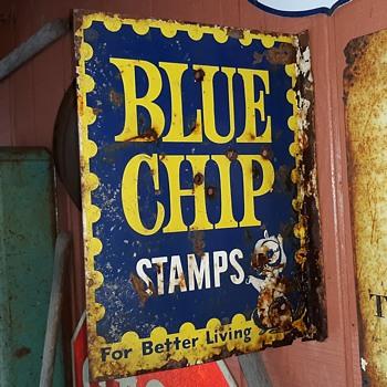 Vintage Blue Chip Stamps Flange Sign - Advertising
