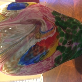 Psychedelic Peacock Vase - Art Glass