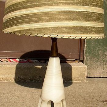 Marble Like White Stone Base Lamp - Mid-Century Modern