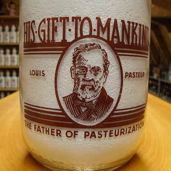 Louis Pasteur design 1/2 gallon milk bottle....