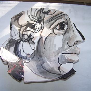 Barbara-Mahl-Listed-Artist-Picasso-like-Ceramic-Plate-Signed-1986  Barbara-Mahl-Listed-Artist-Picasso