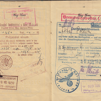 WW2 used Polish passport with late German visa - Paper
