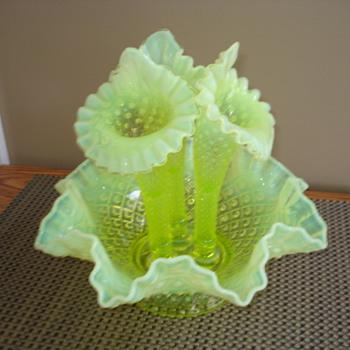 fenton vaseline opal topaz epergne - Glassware