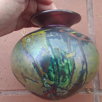 Iridescent vase signature not legible in  - Art Glass