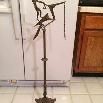 Egyptian Deco Brass, Man on Bird? - Art Deco