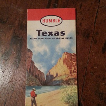 1950 Humble Road Map of Texas with Pictorial Guide - Petroliana