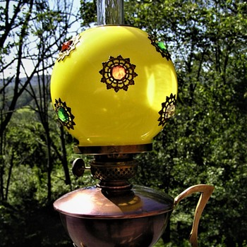 Small Victorian Oil Lamp with Jeweled Shade - Lamps