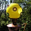 Small Victorian Oil Lamp with Jeweled Shade