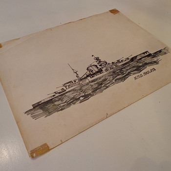 Vintage HMS Maylaya Pen Drawing