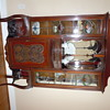 Walnut dimensional stained glass showcase cabinet
