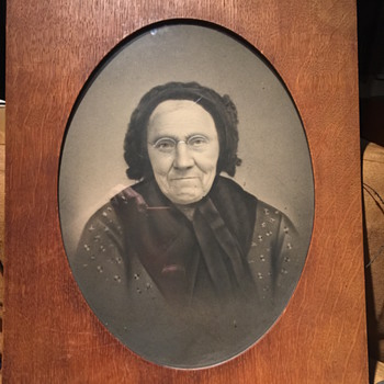 Old framed hand colored photographic portrait  - Photographs