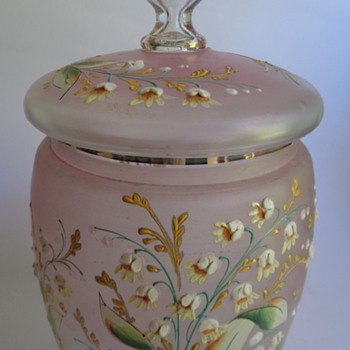 Victorian glass lidded jar with raised enamel decoration - Art Glass