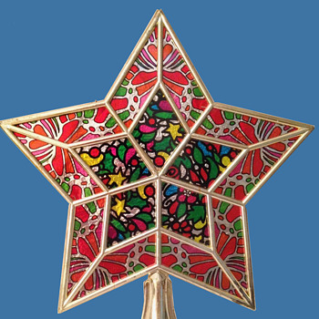 Early 1970's Psychedelic Star Shaped Christmas Tree Topper in Box - Christmas