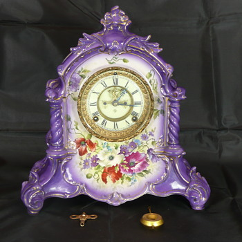 "Our Ansonia ""La Verdon"" Royal Bonn Porcelain Mantel Clock, from circa 1901 - Clocks"