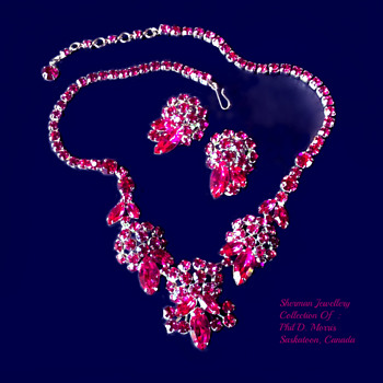 Fuscia Sherman Necklace and Signed Earrings Set - Costume Jewelry
