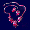 Fuscia Sherman Necklace and Signed Earrings Set