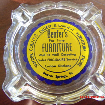 An Advertising Ashtray from Benfer's Furniture in Beaver Springs, PA - Advertising