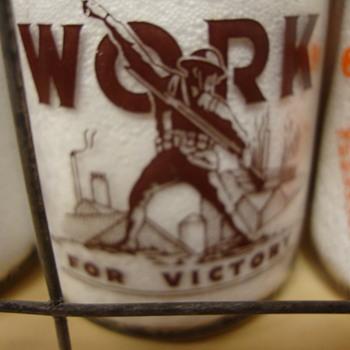 C. Messner's Dairy (Allentown, Pa.) quart war slogan....WORK FOR VICTORY - Bottles