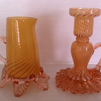 Victorian Welz yellow striped jug & candlestick - Art Glass