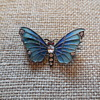 Art Nouveau Depose Plique-à-Jour Sterling Silver and Crystals Butterfly Brooch