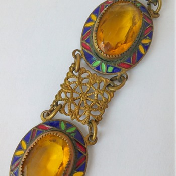 Czech? Art Deco, enamel, yellow glass & brass filigree bracelet - Costume Jewelry
