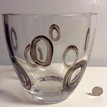 Mid Century Modern Crystal Bowl with Dark Etched Circles - Art Glass