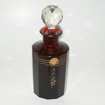 Piece Number 4 Has Arrived: Bohemian Dresser Set Perfume Bottle - Art Glass
