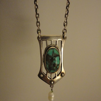 German Jugendstil silver & turquoise pendant and chain - Fine Jewelry