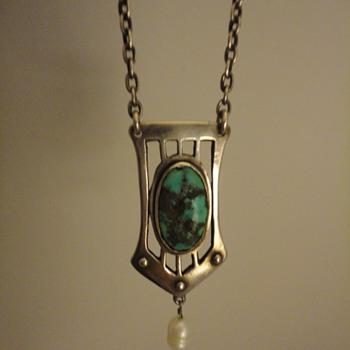German Jugendstil silver & turquoise pendant and chain