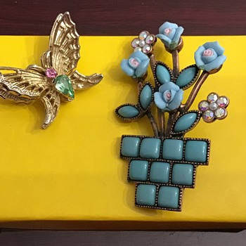 Coro butterfly and flower pot brooch - Costume Jewelry