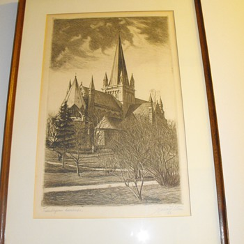 Etching from Halvard Storm.  1928.  England church.