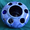 Blue Drip Glaze Large Frog Flower Vase