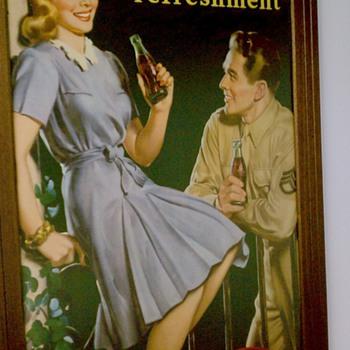 Anitique Coca-Cola poster, circa 1940s.  - Coca-Cola