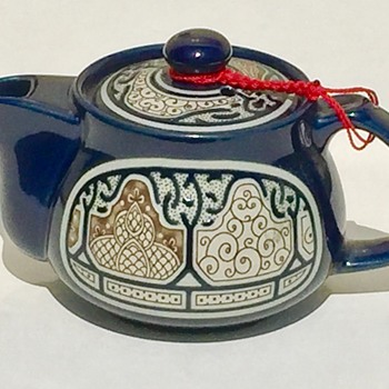 Unusual Teapot & Unknown Makers Mark Cobalt Blue Raised Design ? Any Ideas ? - Pottery