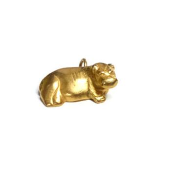 Vintage Metropolitan Museum of Arts Gold Hippopotamus Charm Pendant - Costume Jewelry