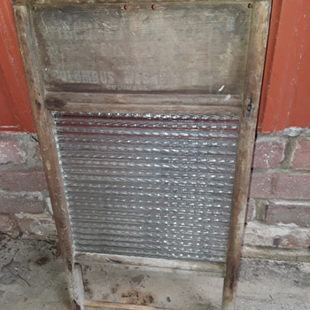 "old glass ""COLUMBUS"" washboard - Glassware"