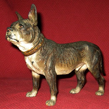 Vintage Cold Painted Zinc Spelter French Bulldog - Animals