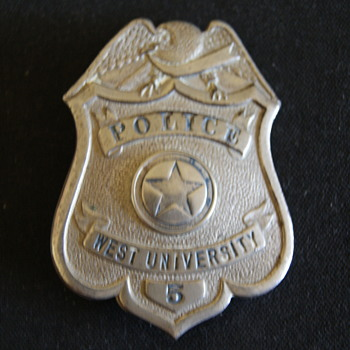 First Police badge issued, Texas City of West University - Medals Pins and Badges
