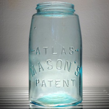 Atlas Mason's Patent Canning Fruit Jar Embossed Antique Vintage Aqua Glass - Bottles