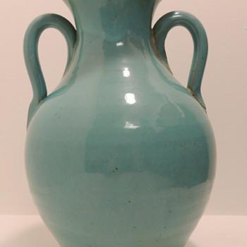 Large Blue/Green Earthenware Vase - Pottery