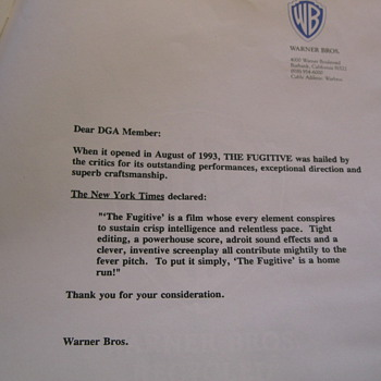 "Directors Guild ""The Fugitive""  Award Promo Pamphlet"