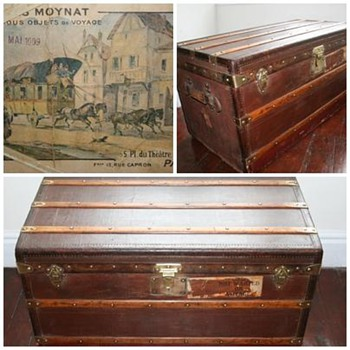 Rare Malles Moynat vintage travel trunk Paris 1909 - Furniture