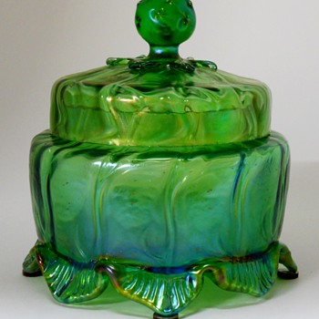 Loetz Lidded Jar, Crete, Neptun 1903 - Art Glass