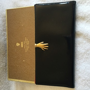 Gucci Black Leather Hand Clasp Wallet Cira 1960s  - Bags